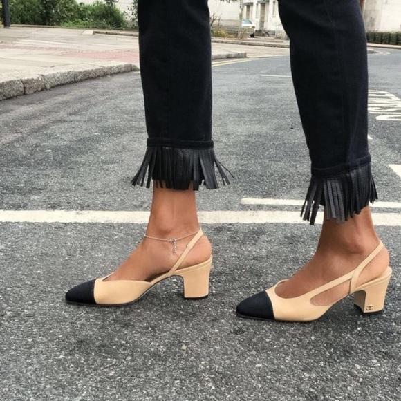 11da7c1fd1 CHANEL Shoes | Lambskin Grosgrain Cap Toe Cc Slingback 38 | Poshmark